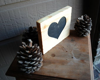 Carved Black Heart in Wood - Reclaimed Wood, Hand Painted