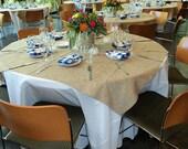 "40"" x 40""  Burlap Table Overlay, Burlap Square - Rustic Wedding, Shabby Chic Wedding, Home Decoration"
