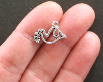 BULK 40 Peace Dove Charms Antique  Silver Tone Two Sided Simple Elegance - SC1516