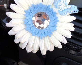 VW Beetle Flower -White and Light Blue  Diamond Bling