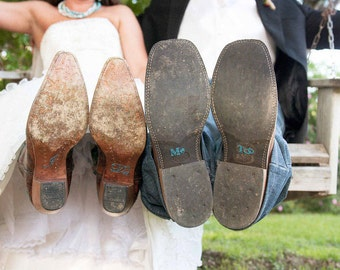Bride's I Do and Groom's Me Too Wedding Shoe Stickers