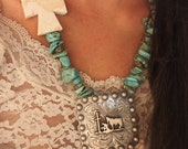 Cowboys and Angels Turquouise and White Turquoise Cowgirl Cross Necklace with Praying Cowboy Concho Necklace