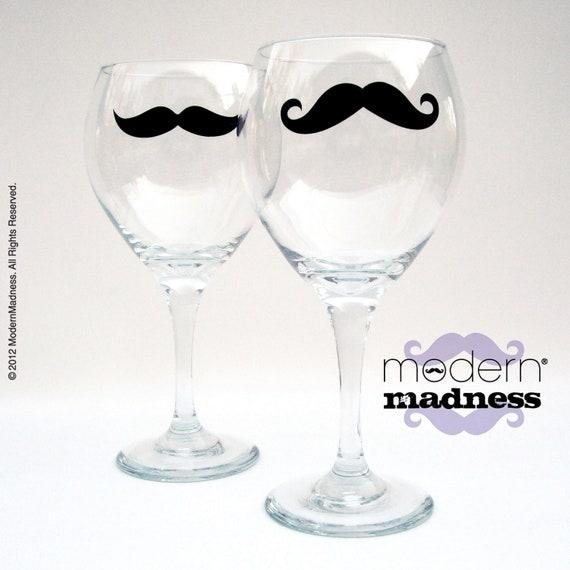 Mustache Red Wine - Oversized Glasses - (set of 2)