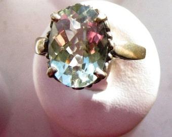Pale Green Amethyst/ Prasiolite Quartz Ring Sterling Silver Filigree Basket Mounting handmade custom sizes 5 6 7 8 9 10 fine jewelry