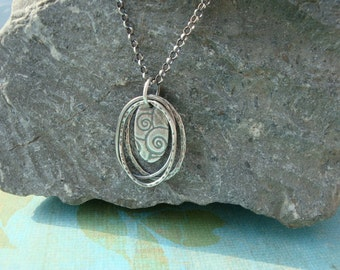 Fine Silver PMC handmade Oval Swirl Necklace
