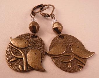 Brass Earrings Bird Earrings Brass Jewelry Beaded Earrings Beaded Jewelry Bird Jewelry