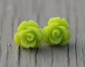 Neon Stud Earrings : Bright Lime Green Flower Stud Earrings, Sterling Silver Plated Earring Posts, Neon, Simple, Fun