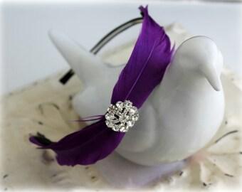 Feather Headband - Purple Violet Plum - Crystal Bridal Headband - Feather Fascinator - Bridesmaids - Many Colors