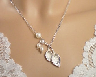 Calla Lilies and Freshwater Pearls Necklace, Sterling Silver Chain