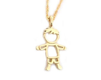Gold Boy Baby pendant, Child Pendant, Boy pendant with a diamond, New baby necklace gift, New born Boy pendant, Newborn gift
