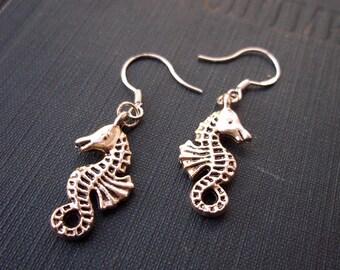 Silver Seahorse Earrings - Seaside, Ocean Lover, Beach