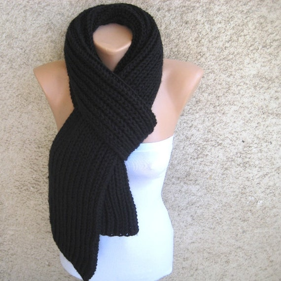 Black Knit Mens Scarf, Womens Long Thick Shawl, Soft Double Face Ribbed scarf, Organic Wool Blend, Elastic Urban chic Accessory, Gift idea