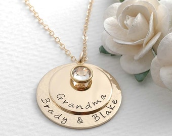 Gold Filled personalized name necklace, stacked discs with birthstones