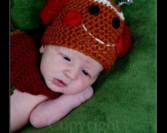 Christmas Baby Hat Gingerbread Man Hat and Scarf Set, Baby Crochet Photo Prop