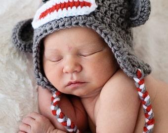 Newborn Sock Monkey, Photo Prop, Select Size, Baby Sock Monkey, Crochet Sock Monkey, Gray Sock Monkey, Boy Sock Monkey, Girl Sock Monkey