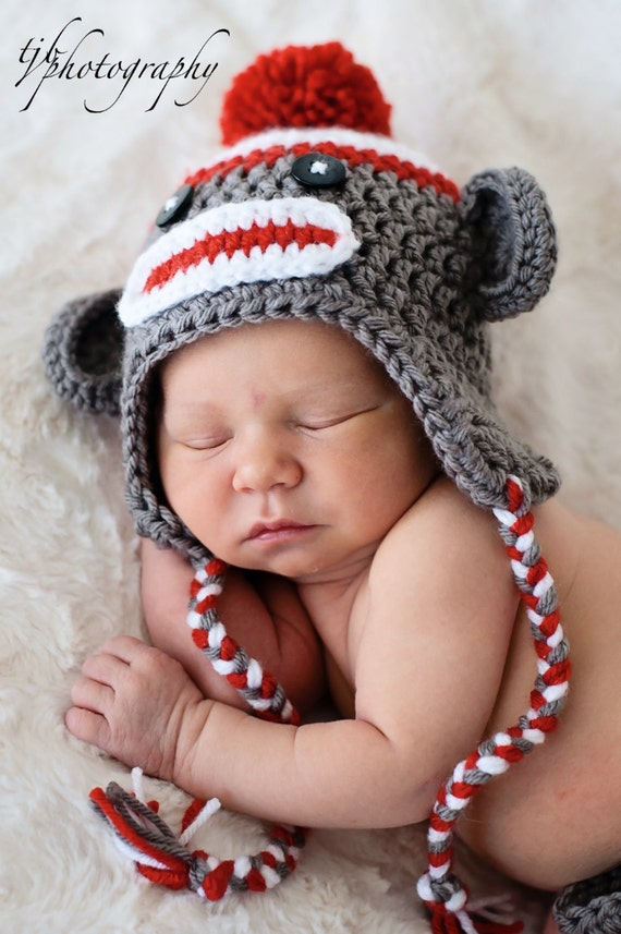 Newborn Sock Monkey Photo Prop Select Size Baby Sock