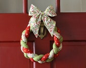 Christmas Wreath Braided Fabric-Fa La La Bow - HolidaySpiritsDecor