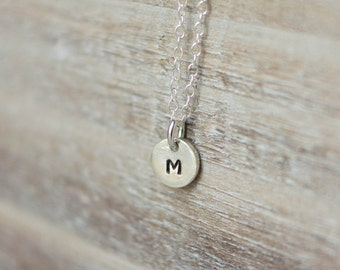 Tiny Initial Necklace - Sterling Silver Circle Initial Necklace - Handstamped Tiny Circle - Dainty Everyday Necklace