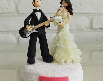 Custom Wedding Cake Topper - Musician guitarlist singer - gift decoration