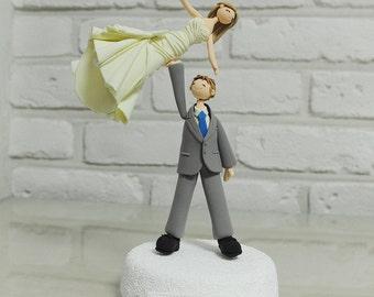Cheerleader couple, acrobatic custom wedding cake topper, gift