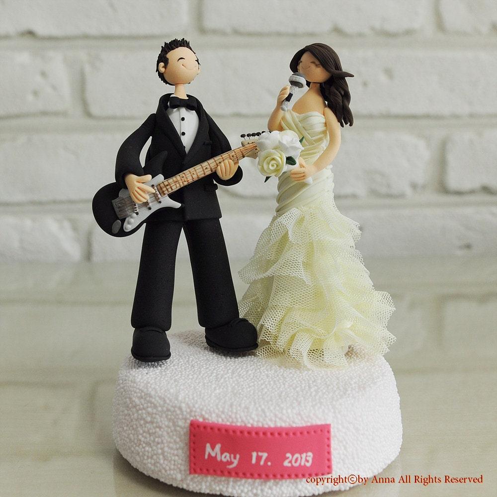 Guitar Wedding Songs: Custom Wedding Cake Topper Musician Guitarlist Singer Gift