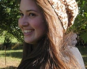 Brown and White Slouchy Beanie