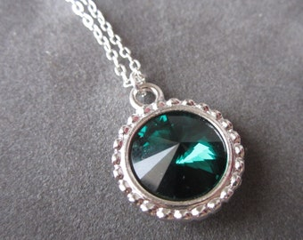 May Birthstone Necklace, Silver Pendant, Crystal Emerald Jewelry, Emerald Necklace