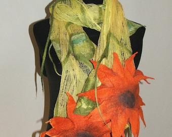 Nuno Felted Scarf, wrap OOAK Wearable Art  Tangerine flowers nuno felt  Made to Order