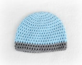Crochet Baby Boy Beanie Newborn to 5T Hat Soft Blue/Heather Grey  - MADE TO Order