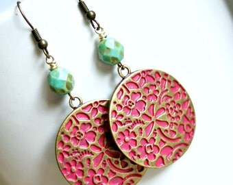 pink and green flowery brass disk drop earrings