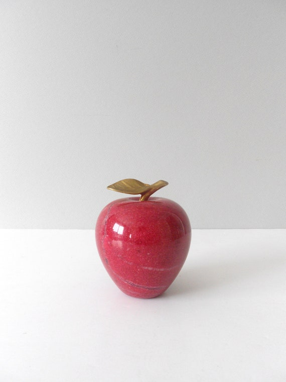 red solid marble apple paperweight with brass stem