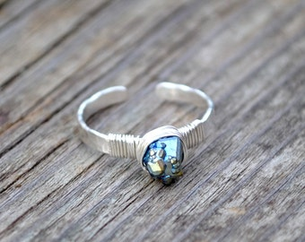 Peacock Druzy Ring, Sterling Silver Titanium Peacock Druzy Stacking Ring, Wire Wrapped Druzy Nugget