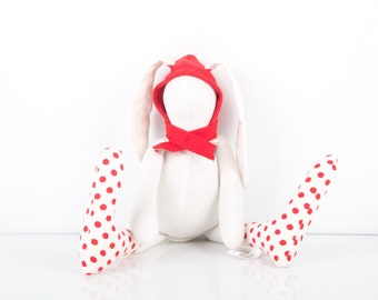 Eco friendly toy - Small Bunny Rabbit doll little white rabbit in red Hood hat Wearing  Polka Dots socks  - Timohandmade fabric stuffed toy