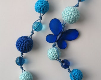 CLEARANCE SALE - Blue crocheted necklace with beads   E215
