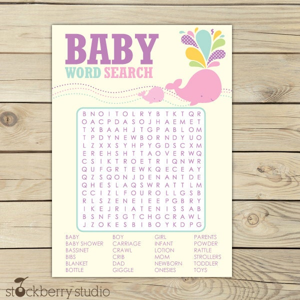 Crossword Puzzle For Baby Shower Part - 22: Details. Printable Girl Whale Baby Shower Word Search ...