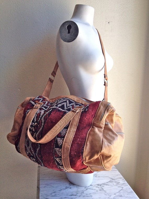 60's Kilim Large Duffle Weekender Tapestry and Leather Vintage Bag
