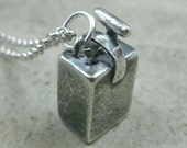 Blasting Box Fine Silver Necklace- Blast Box Pendant- Mining Explosives- Pyrotechnician Gift- TNT Plunger- Boom Dynamite- Pyrotechnic Mining