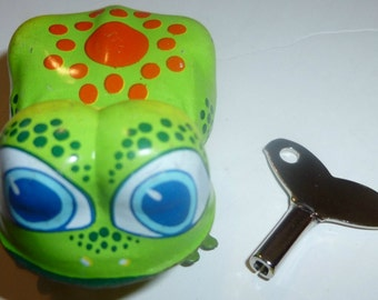 Hopping Frog Vintage Tin Wind Up Toy, 1960s