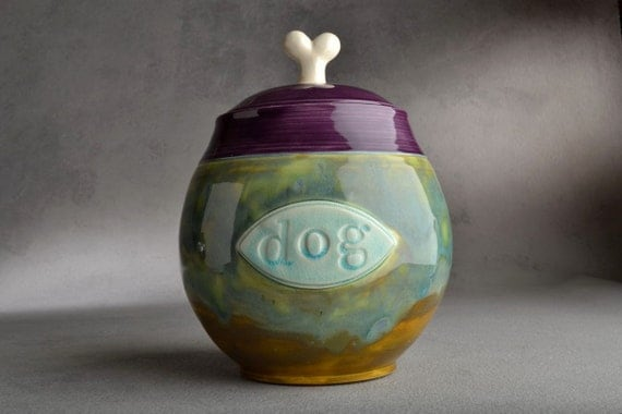 Dog Treat Jar Made To Order Stamped Dog Plaque Treat Jar by Symmetrical Pottery