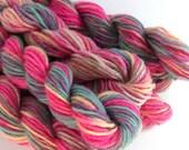 25 Yards Pink Green Yellow Superwash Wool Mini Skein Fingering Sock Yarn
