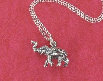 Sterling Silver GOP Elephant Necklace