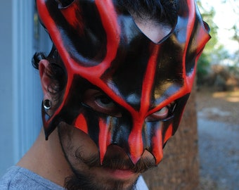 Amber Great Dragon Leather Mask