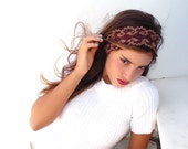 Brown headband, Chocolate Bridal headband accessory, crochet  Wedding  lace headband.