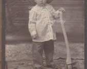 Vintage Cabinet Photo, Little boy with a big Axe
