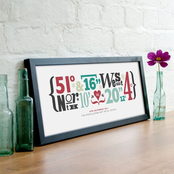 Personalized Wedding Style Coordinates Printpersonalised location ...