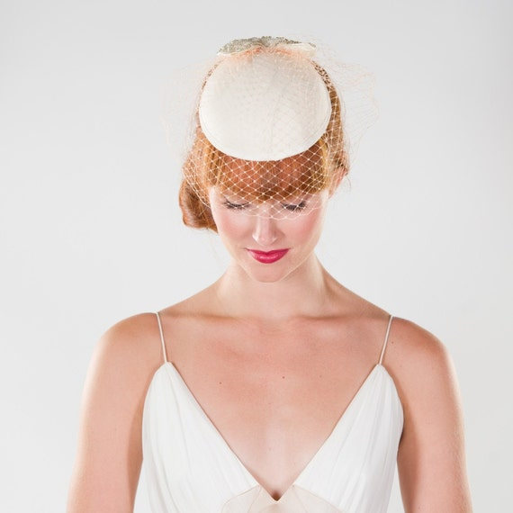 Southern Vintage Inspired Ivory Cap with Birdcage Veil and Embellished Bow