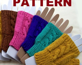 PATTERN: Fingerless Mittens. Cable knit pattern for women. Tutorial and complete instructions.