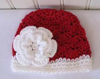 Crochet Girls Hat - Baby Hat - Newborn Hat - Toddler Hat  - Christmas Hat - Red and White with White Flower - in sizes Newborn to 3 Years
