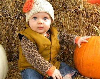 Baby Hat - Crochet Hat - Girls Hat - Toddler Hat - Fall Hat - Thanksgiving Hat - Ecru (Beige) with Orange Flower - sizes Newborn to 3 Years