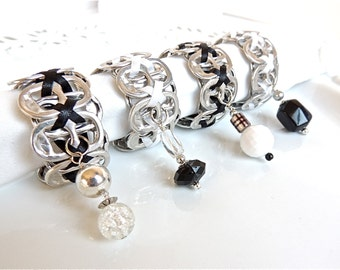 Soda TAB NAPKIN RINGS - Black Tie Affair - set of 4 - black and white - upcycled/recycled - gifts under 20 dollars